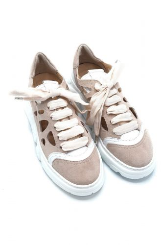 AGL basket bas Beige femmes (AGL-Basket perforé - 938017 basket beige rosé perfo) - Marine | Much more than shoes