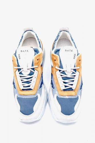 D.A.T.E. basket bas Bleu-multi femmes (D.A.T.E.-Fille tech. multi - FUGA Sky/lavande/Pêche) - Marine | Much more than shoes