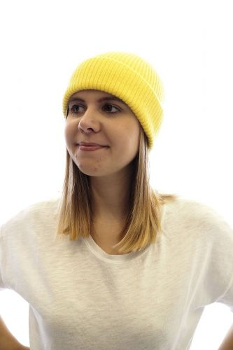 Le Bonnet Amsterdam bonnet Jaune unisex (Bonnet A'DAM-Beanie uni - 7435 Beanie uni Acid yellow ) - Marine | Much more than shoes