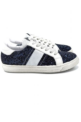 Méliné basket bas Bleu femmes (Méli-Basket bas GG Glitter - BUP1329 glitter bleu) - Marine | Much more than shoes
