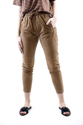Oakwood pantalon Camel femmes (OAK-Pantalon droit suede - GIFT pantalon daim tan) - Marine | Much more than shoes