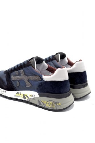 Premiata basket bas Bleu hommes (Prem-Semelle moyenne  - MICK 5027 marine uni col borde) - Marine | Much more than shoes