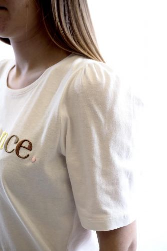 Selected Femme tee-Shirt Blanc femmes (SLCT-TeeSHirt manches ballons - ROMANCE TeeShirt blanc écritur) - Marine | Much more than shoes