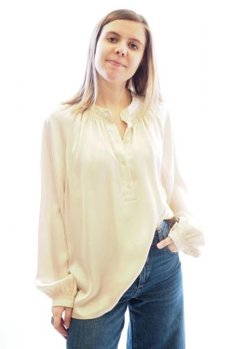 Selected top Beige femmes (SLCT-Blouse satin unie - HARMONY Blouse satin Champagne) - Marine | Much more than shoes