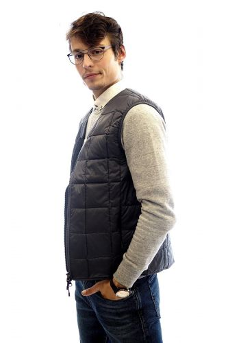 Taion veste Gris hommes (TAION-Body Warmer W/M - V NECK zip veste matelassée gr) - Marine | Much more than shoes