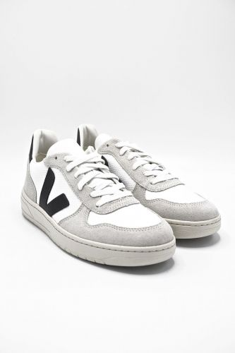 Veja basket bas Blanc hommes (VEJA-Basic plateau - V10 Mesh plateau) - Marine | Much more than shoes