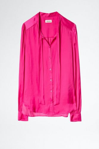 Zadig & Voltaire Vêtements chemise Fuschia femmes (Zadig-Chemise satin - TAOS chemise satin fushia) - Marine | Much more than shoes