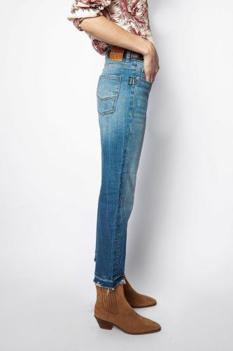 Zadig&Voltaire pantalon Jeans femmes (Zadig-Jeans droit cropped - BOYFIT jeans destroy) - Marine | Much more than shoes