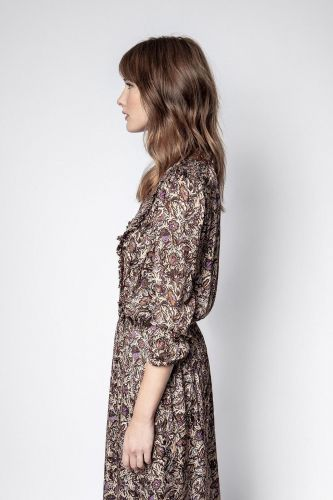 Zadig & Voltaire Vêtements robe Brun-multi femmes (Zadig-Robe Bohème - ROWDY Satin motifs brun/parme) - Marine | Much more than shoes
