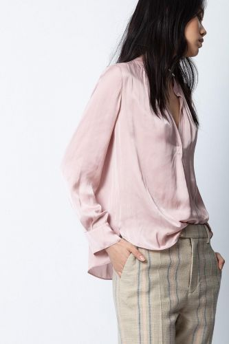 Zadig & Voltaire Vêtements chemise Rose femmes (Zadig-Top satin - TINK Satin froissé rose poudre) - Marine | Much more than shoes