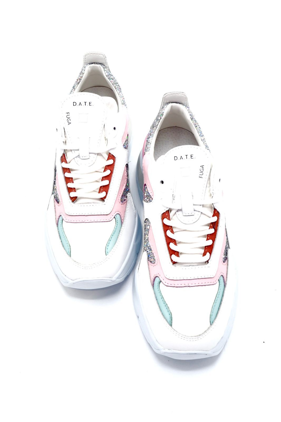 D.A.T.E. basket bas Ciel femmes (D.A.T.E.-Fille tech. multi - FUGA blanc/argent glitter /cie) - Marine | Much more than shoes