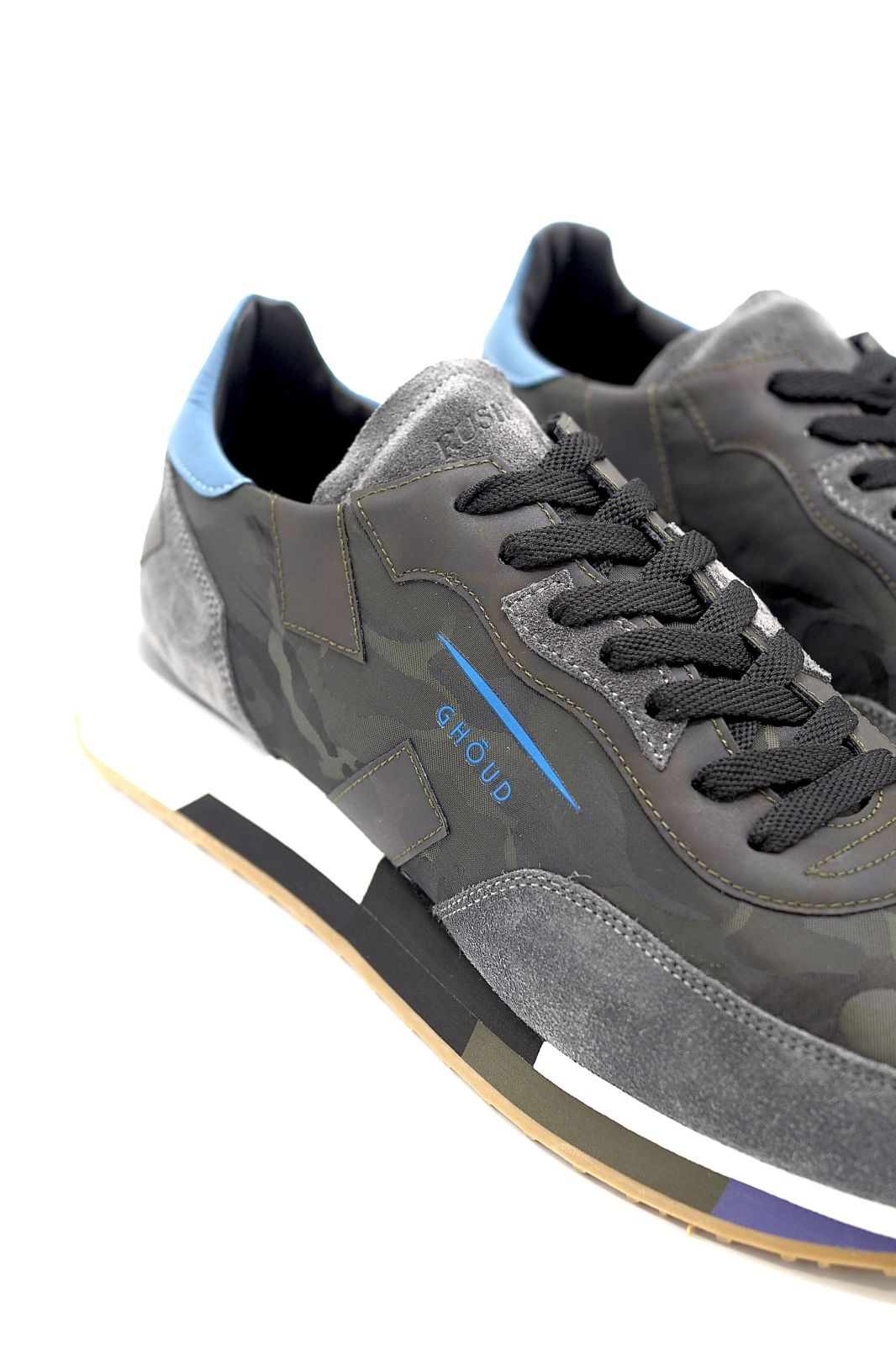 Ghoud basket bas Gris hommes (GHOUD-Runner Men semelle multi - RMLM-12 camouflage gris & bleu) - Marine | Much more than shoes