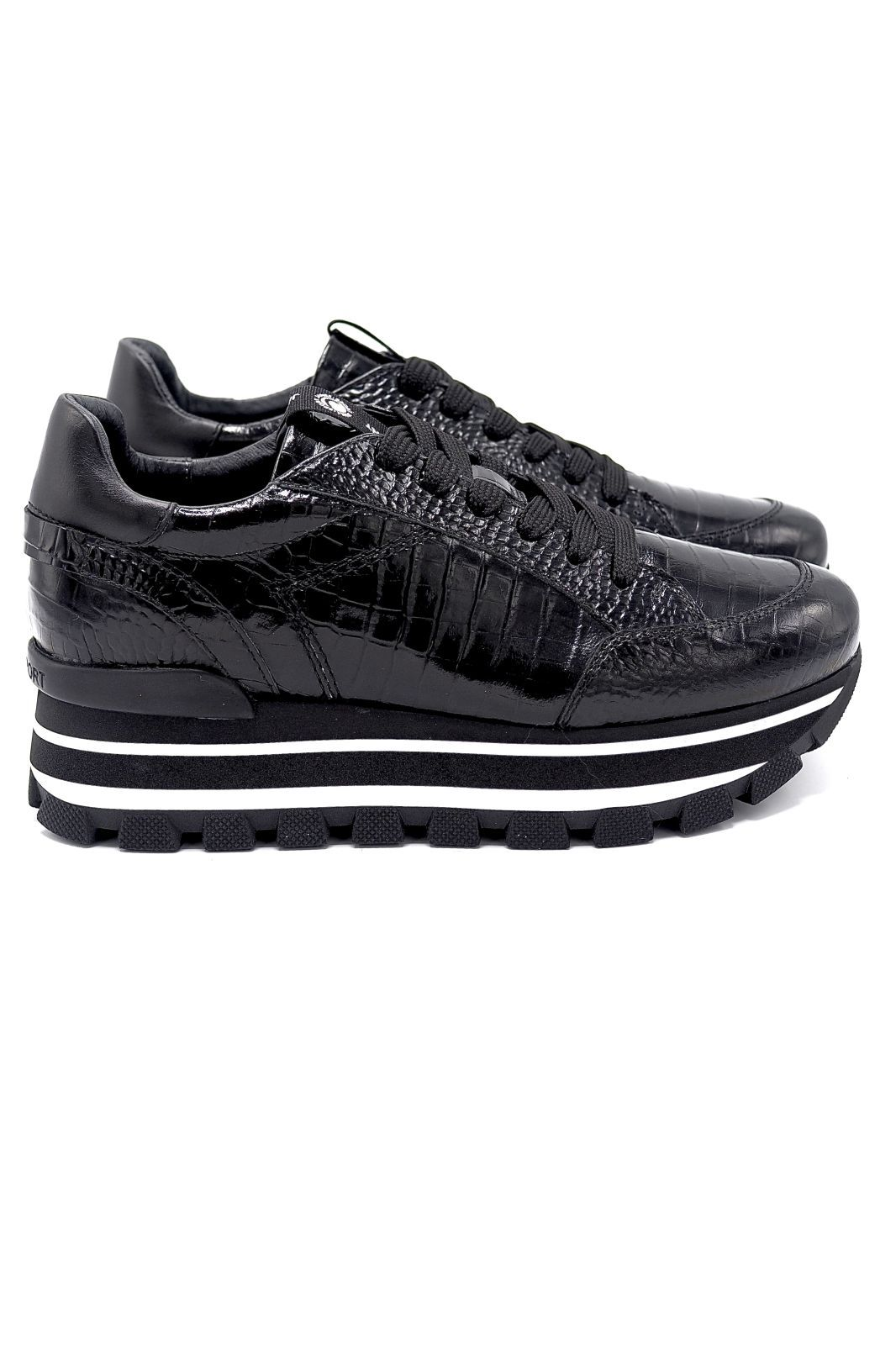 Janet&Janet basket bas Noir femmes (J&J-Basket semelle épaisse - 46654 Runner croco noir) - Marine | Much more than shoes