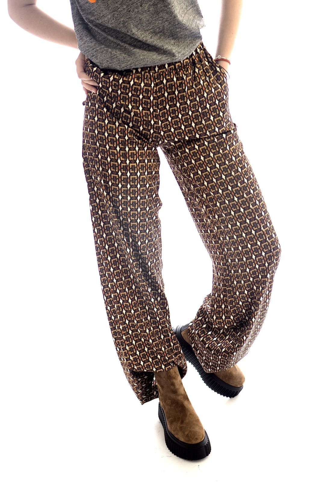 Jeff pantalon Multicolor femmes (Jeff-Pantalon imprimé - SIMON Pantalon imprimé brun/or) - Marine | Much more than shoes