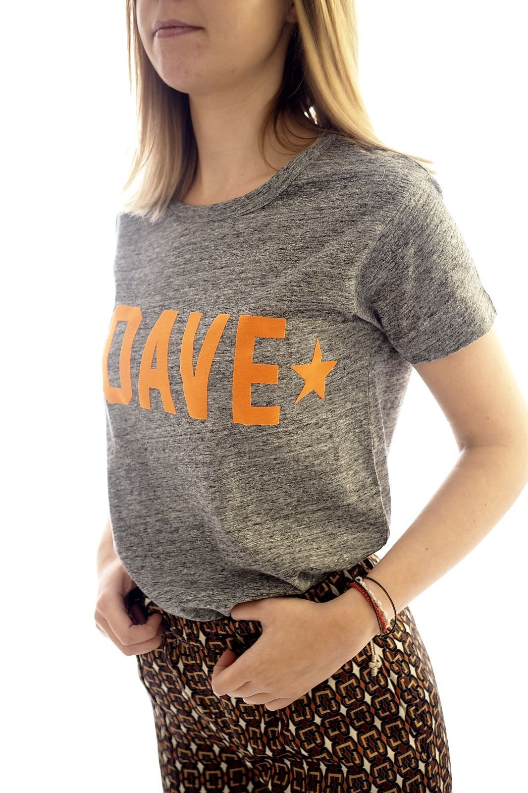 Jeff tee-Shirt Gris femmes (Jeff-Tshirt gris/orange fluo - TEE SOAVE Tshirt gris foncé/or) - Marine | Much more than shoes