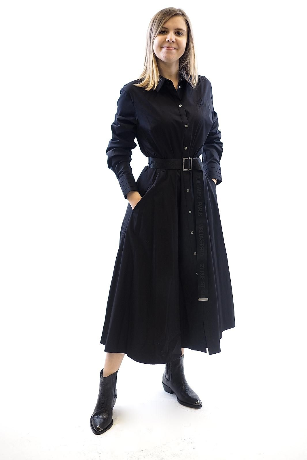 Karl Lagerfeld robe Noir femmes (KL-Robe popeline - 1300 Robe chemisier noire) - Marine | Much more than shoes