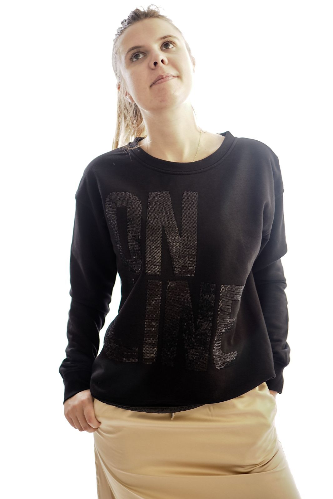 Margittes pull Noir femmes (MARGI-Sweat On Line - 26449 sweat col rond noir) - Marine | Much more than shoes