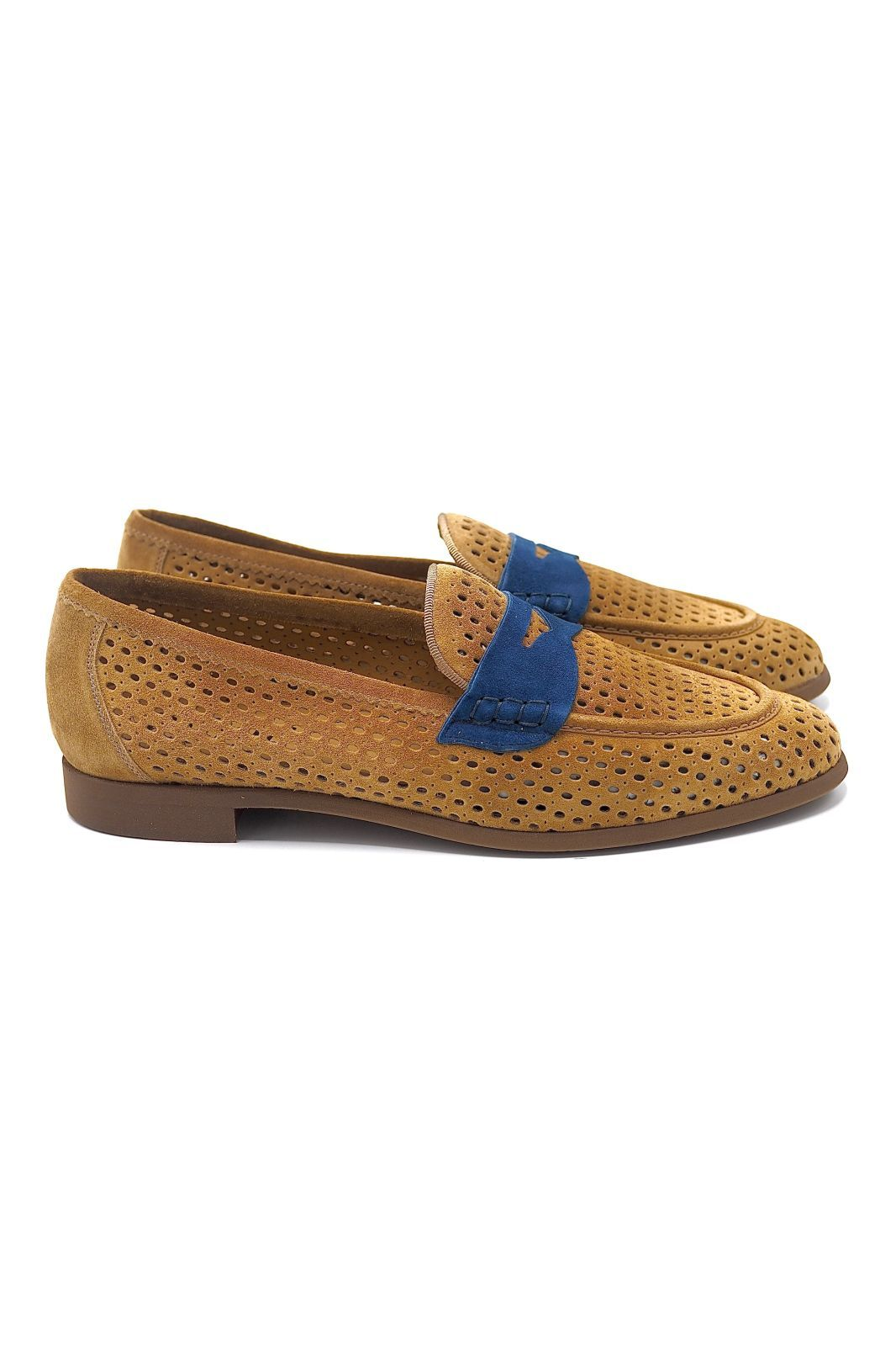 Pertini mocassin Naturel femmes (Pert-Gucci - 17011 Gucci nub. perfo camel/b) - Marine | Much more than shoes