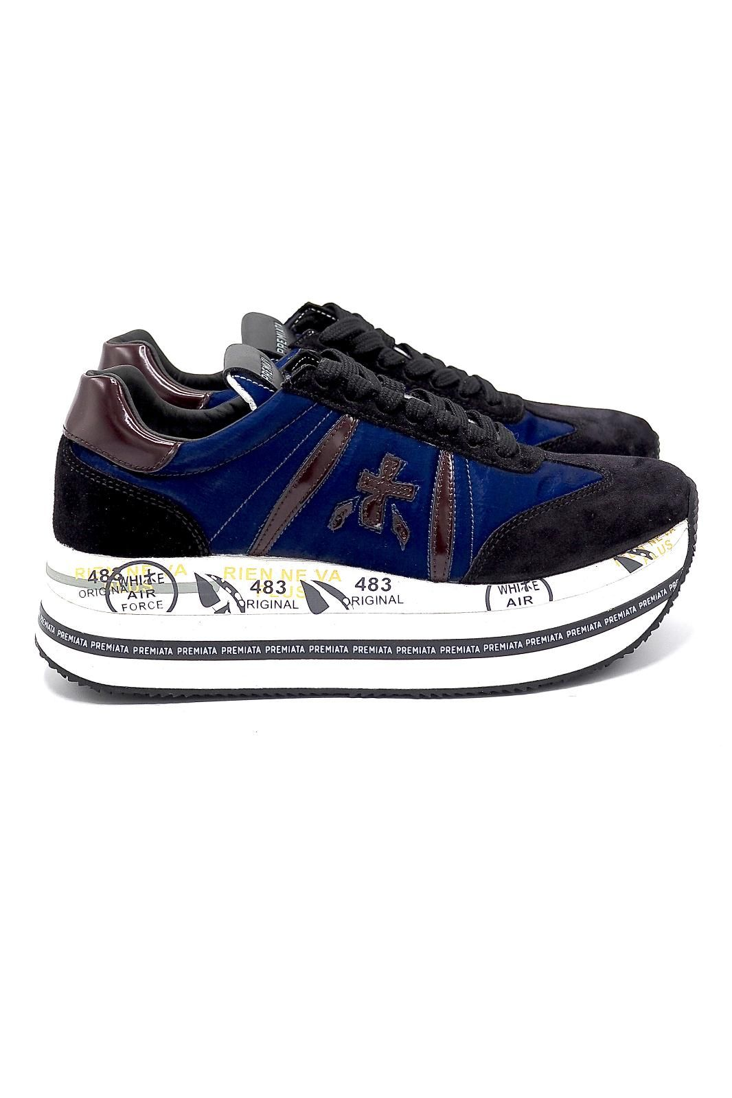 Premiata basket bas Bleu femmes (Prem-Semelle épaisse - BETH 5051 bleu + bronze métali) - Marine | Much more than shoes