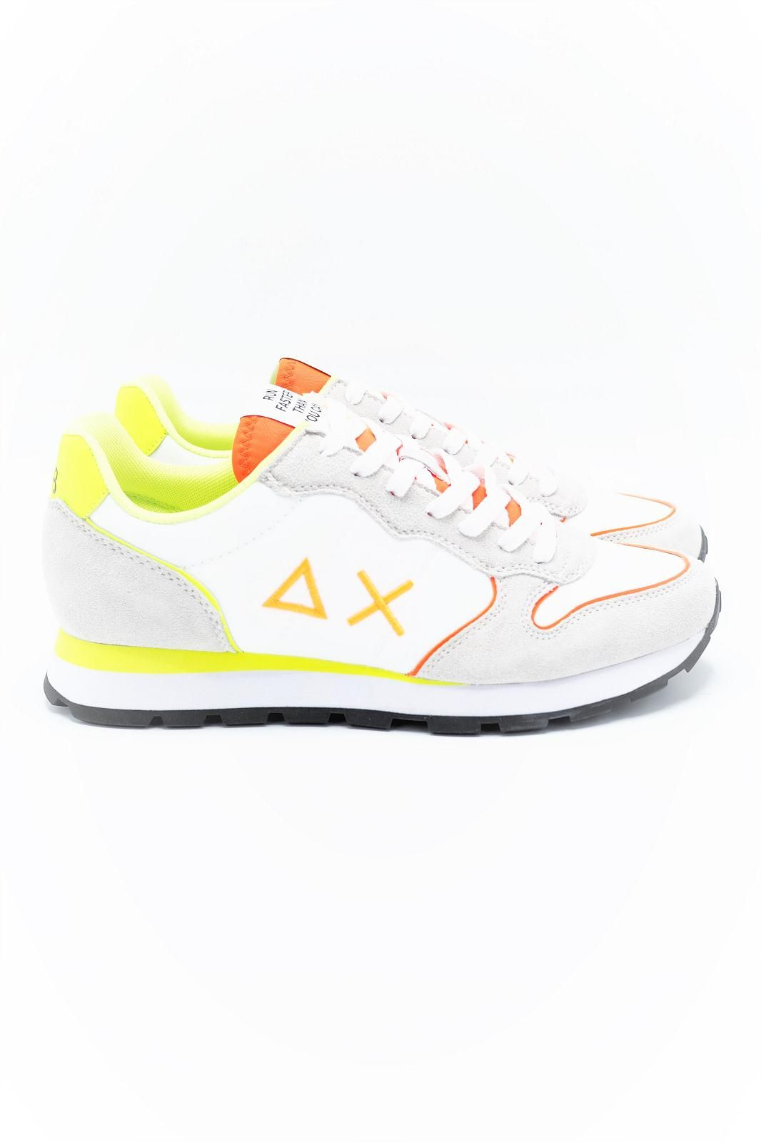 SUN68 basket bas Blanc hommes (SUN68-Runner basic  - CPZ31102 Runner blanc fluo) - Marine | Much more than shoes