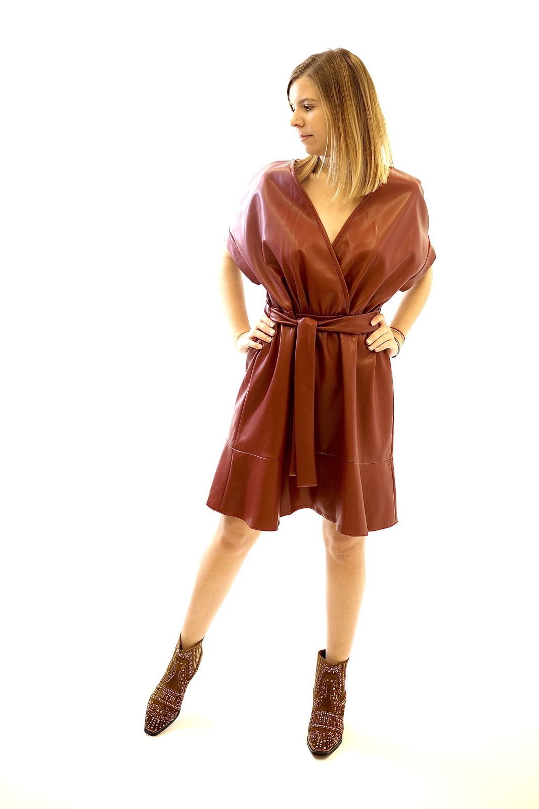 Sylvian Heach robe Bordeau femmes (SylvianH-Robe Fake Leather - BLOWOUT Robe bordeau) - Marine | Much more than shoes