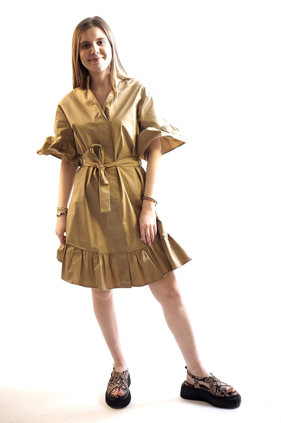 Sylvian Heach robe Camel femmes (SylvianH-Robe - REMUSI robe courte camel) - Marine | Much more than shoes