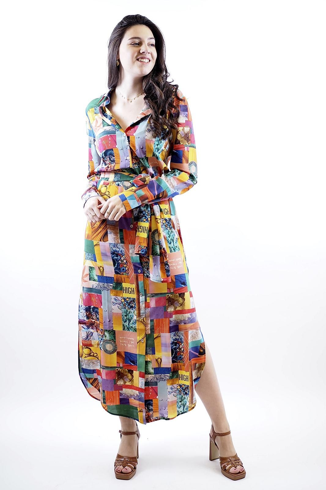 Unbreakable robe Multicolor femmes (UNB-Robe chemisier multi - MAXI Robe chemisier multicolor) - Marine | Much more than shoes