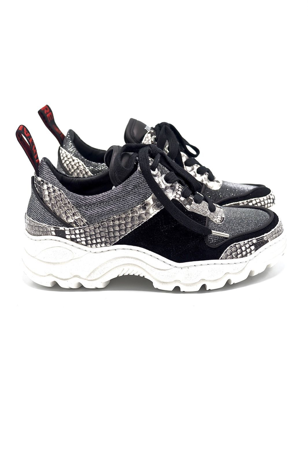 Zadig accessoires basket bas Noir femmes (Z&V acc-Sneakers sem. technic - BLAZE cuir/pyton black&silver) - Marine | Much more than shoes