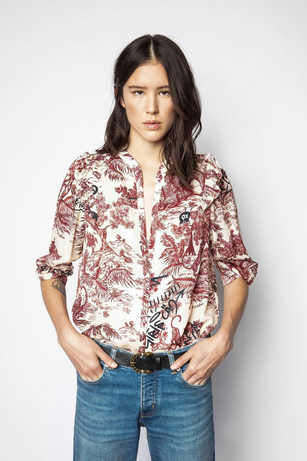 Zadig&Voltaire top Beige femmes (Zadig-Top satin motif Jouy - TYGG top satin beige/bordeaux) - Marine | Much more than shoes